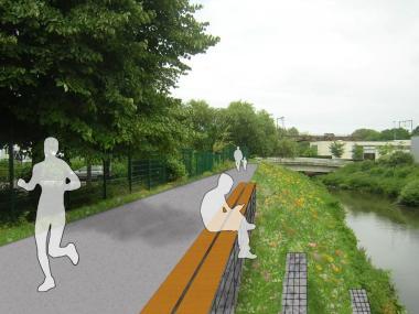 Au niveau de la Senne et du Aa, le tracé de la promenade sera implanté sur le haut de la berge - ©Beliris