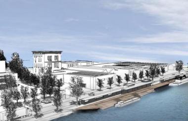 Une vue du futur terminal pour passagers du port de Bruxelles. - ©www.portdebruxelles.be