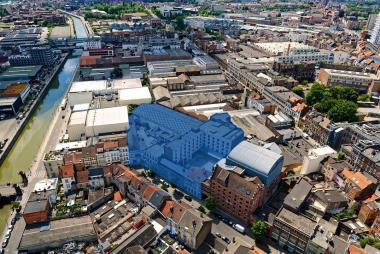 La situation actuelle des 13-15 et 17-19 rue de Manchester.  - ©sau-msi.brussels (Simon Schmitt - www.globalview.be)