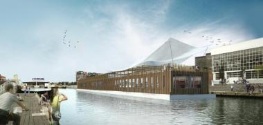 Schets van de toekomstige 'jeugdherbergboot'. - ©A2M