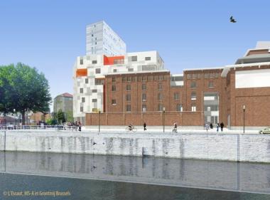 Architectentekening van de toekomstige aanblik van de site. - ©L'Escaut-MSA-Grontmij Brussels