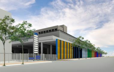 Project voor plaatsing van een kunstwerk van Philippe Van Snick op de gevel van het TIR-centrum, aan de kant van de Havenlaan.