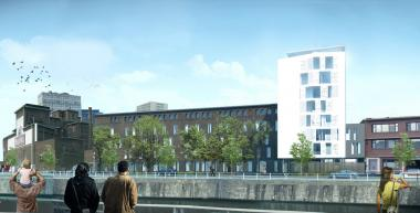 Schets van het toekomstig hotel langsheen het kanaal. - ©A2M sprl