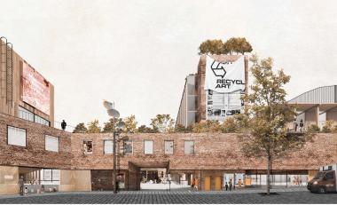 Simulatie van het gebouw gezien vanaf de Manchesterstraat.  - ©sau-msi.brussels (BC architects)