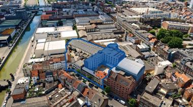 De ruimtes waarvoor de oproep tot interesse tijdelijke gebruikers zoekt, liggen in de blauw gekleurde gebouwen. De volledige sit - ©sau-msi.brussels (Simon Schmitt - www.globalview.be)