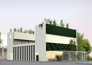 Simulatie van het toekomstige gebouw gezien vanaf het kruispunt tussen de Havenlaan en de Stapelhuisstraat.  - ©Central